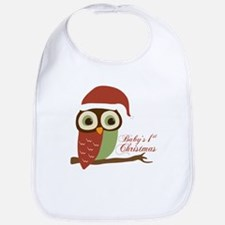Baby's 1st Christmas Santa Owl Bib