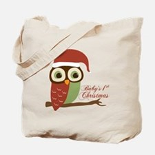 Baby's 1st Christmas Santa Owl Tote Bag