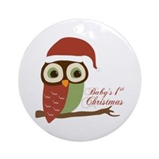Baby's 1st Christmas Santa Owl Ornament (Round)