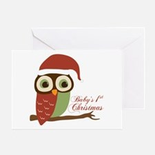 Baby's 1st Christmas Santa Owl Greeting Card