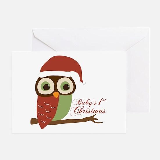 Baby's 1st Christmas Santa Owl Greeting Card