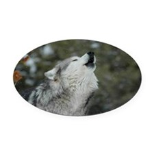 x14wht Christmas Wolf Oval Car Magnet
