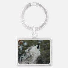x14wht Christmas Wolf Landscape Keychain