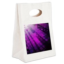 Purple Tile Stars Canvas Lunch Tote