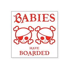 """twins-boarded-T Square Sticker 3"""" x 3"""""""