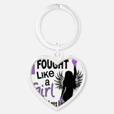 I Fought Like A Girl Hodgkins Lymph Heart Keychain