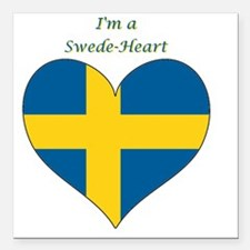 "SwedeHeart-sq Square Car Magnet 3"" x 3"""