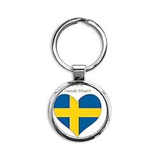SwedeHeart-sq Round Keychain