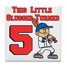 Little Slugger Turned 5 Tile Coaster