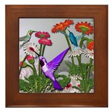Humingbird garden Framed Tile