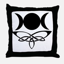 BlackCeltTripleMoon Throw Pillow