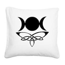 BlackCeltTripleMoon Square Canvas Pillow
