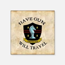 "havegun_clock Square Sticker 3"" x 3"""