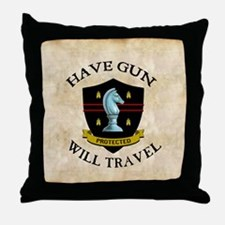 havegun_clock Throw Pillow