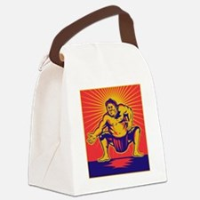 Sumo wrestler crouching retro woo Canvas Lunch Bag