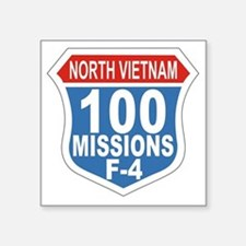 "100 Missions F-4 Square Sticker 3"" x 3"""