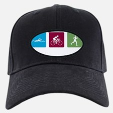 swim bike run images_dark Baseball Hat