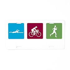 swim bike run images_dark Aluminum License Plate