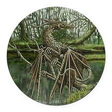 Wood Dragon Round Car Magnet