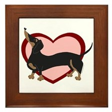 Wiener with Hearts Framed Tile