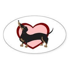 Wiener with Hearts Oval Decal