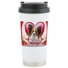 Happy Valentines Day Papillon Travel Mug