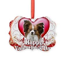 Happy Valentines Day Papillon Ornament