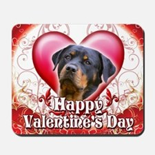 Happy Valentines Day Rottweiler Mousepad