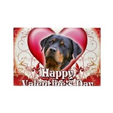 Happy Valentines Day Rottweiler Rectangle Magnet
