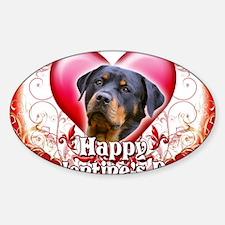 Happy Valentines Day Rottweiler Sticker (Oval)