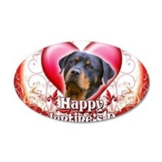 Happy Valentines Day Rottwei 35x21 Oval Wall Decal