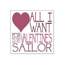 "VALENTINE SAILOR Square Sticker 3"" x 3"""