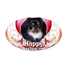 Happy Valentines Day Pekingnese Oval Car Magnet