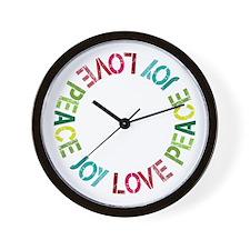 Peace Love Joy Wall Clock