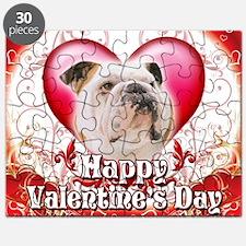 Happy Valentines Day Bulldog Puzzle
