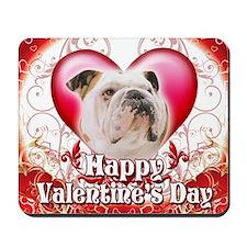 Happy Valentines Day Bulldog Mousepad