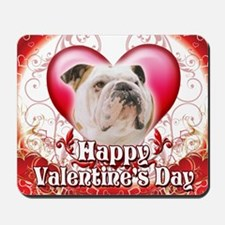 Happy Valentines Day Bulldog Mousepad