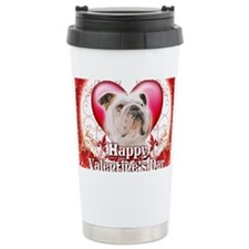 Happy Valentines Day Bulldog Travel Mug