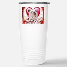 Happy Valentines Day Bulldog Travel Mug