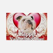 Happy Valentines Day Bulldog Rectangle Magnet