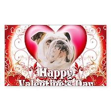 Happy Valentines Day Bulldog Decal