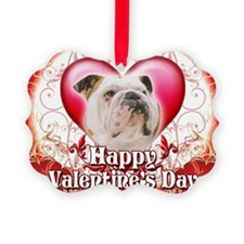 Happy Valentines Day Bulldog Ornament