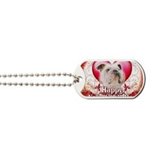Happy Valentines Day Bulldog Dog Tags
