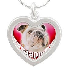 Happy Valentines Day Bulldog Silver Heart Necklace