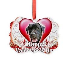 Happy Valentines Day Black Lab Ornament