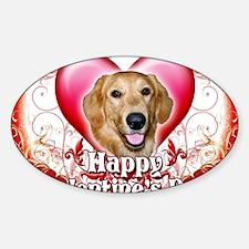 Happy Valentines Day Golden Retriev Sticker (Oval)