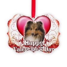 Happy Valentines Day Sheltie Ornament