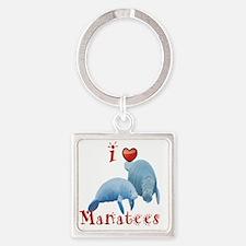 I-love-manatees Square Keychain