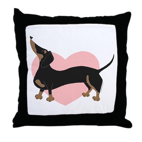 Pink Heart Wiener Throw Pillow