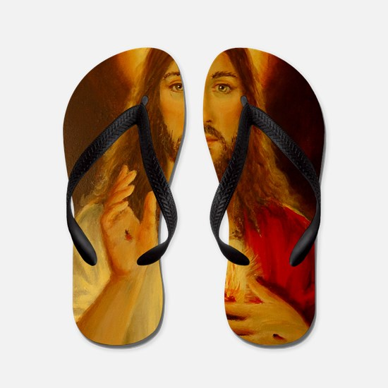 JESUS CHRIST  LorAnge Art 2011 2x2 Flip Flops